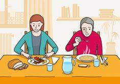 En la escena, se observa a dos personas sentadas en la mesa y comiendo en el comedor de su casa. La madre esta comiendo un trozo de carne y el padre está comiendo sopa calente. En la escena, aparecen otros alimentos y utensilios relacionados con la comida.