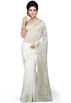 Buy Bengal Handloom Cotton and Silk Saree in Off White online,Item code: SCXA34, Occasion: Festival, Fabric: Cotton, Gender: Women