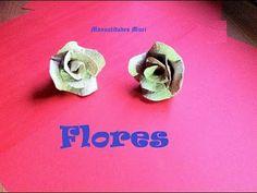 Manualidades, Flores con cajas de huevos. Muy Fácil. - YouTube