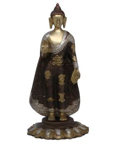 Resting Buddha statue handmade in India, made of brass with intricate detailing. Available at BuddhaGroove.com.