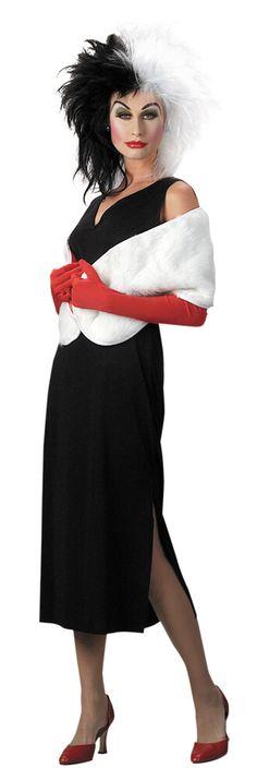 Click Image Above To Buy: Cruella De Vil Costume - Disney Costumes - carnaval kostuum idee - voor meer ideeën check www. Disney Villain Costumes, Cartoon Costumes, Disney Cosplay, Disney Villains, Adult Costumes, Disney Costumes For Women, Disney Characters, Family Costumes, Group Costumes