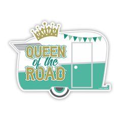 Camper Sticker, Queen of the Road Sticker, travel trailer, glamping, laptop sticker, decals, caravan, vintage camper, stickers, happy camper