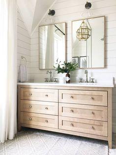 Top 10 Double Bathroom Vanity Design Ideas in 2019 - Double Bathroom Vanity Designs Ideas – Brown as well as White Double Vanity. An elevated double v - Bathroom Renos, White Bathroom, Modern Bathroom, Small Bathroom, Minimalist Bathroom, Bathroom For Kids, Neutral Bathroom, Contemporary Bathrooms, Bathroom Colors