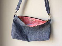 Chambray Crossbody Bag Chambray Purse Chambray by SewnAtSunrise