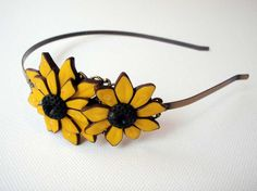 Headband  head band sunflower polymer clay by katjasdreamland, $17.99