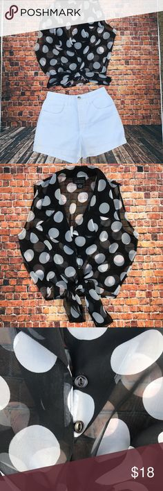 Beautiful express sheer polka dot tie crop top Sheer wide lapel vintage express black and white polka dot sleeveless top .... perfect for a a happy hour look ...fits Medium best .... mint condition no snags or holes Express Tops Crop Tops