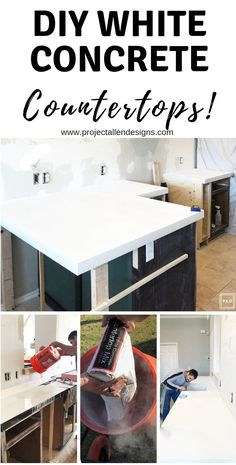room diy white DIY white concrete countops: This tutorial is packed with tons of tips and a step by step process to guide you through creating your very own white concrete countertops on a budget! Budget Kitchen Remodel, Kitchen On A Budget, New Kitchen, Kitchen Decor, Kitchen Ideas, Basement Kitchen, Kitchen Furniture, Bathroom Furniture, Concrete Countertops Bathroom