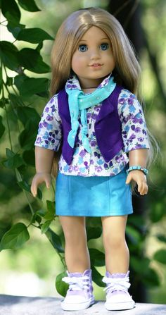 American Girl Doll Clothes - Faux-Leather Skirt, Plum Lined Vest, Button-Down Shirt, Scarf, Turquoise and Silver Bracelet by Doll Closet Hei. $52.00, via Etsy.