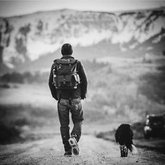 Man and dog / Black and White Photography