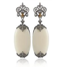 """""""Bochic Ivory and Diamond Earrings €20.955  5.778 CT. 3"""" Drop. 1 ¼"""" Wide. 18K White Gold. Available in White Gold."""" (quote) via polyvore.com"""