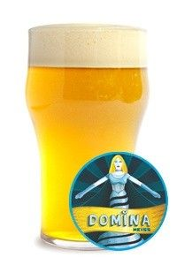 Cerveja Domina Weiss, estilo German Weizen, produzida por Cervejaria Nacional, Brasil. 5% ABV de álcool.