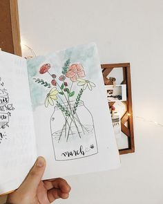 Bullet journal monthly cover page, March cover page, flowers in a jar drawing. | @nclliu.bujo