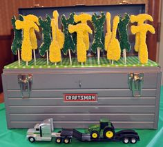 Boy Birthday, John deer Tractor theme, green & yellow tool shaped cookie pops