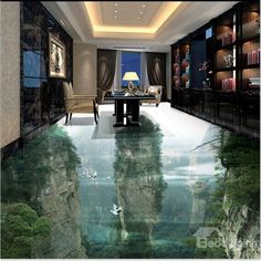 Transparent Vivid Natural Mountain Scenery Home Decorative 3D Floor Murals