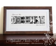 Walnut Personalized Name Frame in Sepia Alphabet Letter Photos Custom Framed and Matted. MEMBER - JavaJaneDesigns