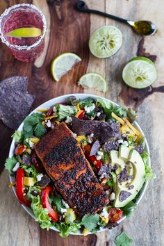 Chile Lime Salmon Fajita Salad with Cilantro Lime Vinaigrette | halfbakedharvest.com