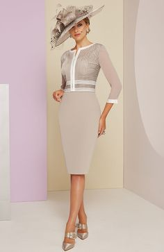 Veni Infantino 991402 Mother of the Bride Outfit - Colour Taupe & Ivory - Price Buy online today with next day delivery - money-back guarantee. Mother Of Bride Outfits, Mother Of Groom Dresses, Mother Of The Bride, Mob Dresses, Fashion Dresses, Satin Formal Dress, Floaty Dress, Luxury Dress, Pretty Dresses