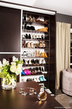 Catt Sadler's enviable bedroom suite. We'll take the shoes & the closet for them, please!
