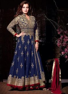 Dia Mirza Net and Raw Silk  Long Anarkali Suit ,Indian Dresses - 1