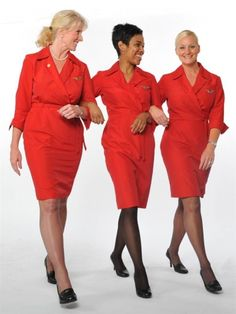 Delta Air Lines red wrap uniforms designed by Richard Tyler