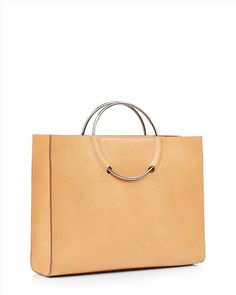 Leather Ring Handle Tote - Camel - Zoom Model Image