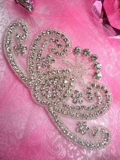 """I think this would work best for the scarf/ juliet cap in front Hollie.  TS86 Crystal Clear Silver Beaded Rhinestone Applique 6"""" x 3"""""""