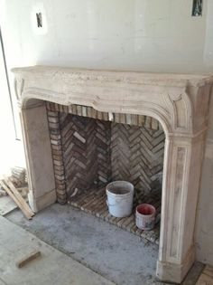 patina farm update: the stone tower. - antique French limestone mantel and antique firebrick from Exquisite Surfaces - Stone Fireplace Surround, Limestone Fireplace, Fireplace Mantle, Fireplace Design, Antique Fireplace Mantels, Bedroom Fireplace, Bar Design, Design Studio, Brick Design