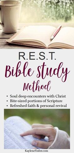 The R.E.S.T. Bible Study Method guides you through soul deep encounters with Christ through bite-sized portions of Scripture. If your current devotional time is weak, hassled, or non-existent... try this!