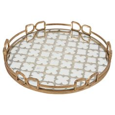 Featuring a golden frame and mirrored trellis motif, this lovely tray is the perfect entryway catch-all or dining table centerpiece.