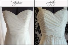 Customised Dress Embellishment- Beaded Lace Applique to Neckline and Waistline