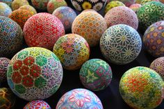 "These stunning embroidered balls called ""temari"" were made by the prodigiously nimble fingers of a 92-year-old grandmother in Japan. Although she only learned this elaborate skill in her sixties, she has since created nearly 500 unique designs that have been photographed by her granddaughter NanaAkua. Impressive does not even begin to describe this feat of dexterity, imagination and keen eyesight. The difficult process of becoming a recognized temari craftsman in Japan is tedious and…"