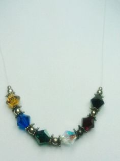 "Pretty ""Naked"" Necklace with Colorful Crystals Necklace by amyrigs on Etsy"