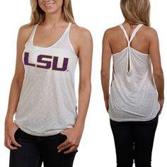 LSU Tigers Women's Oversized Tank - White