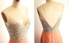 Deep V Back Sheer Beading Wedding Dress/Bridesmaid Dress/Prom Dress by misdress on Etsy