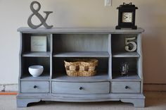 Bookshelf makeover great idea for an ugly old dresser! Refurbished Furniture, Repurposed Furniture, Furniture Makeover, Painted Furniture, Dresser Makeovers, Furniture Projects, Furniture Making, Home Furniture, Diy Projects