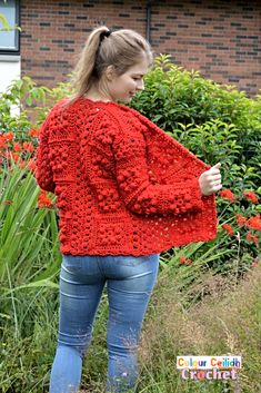 Pick your favorite shade for this easy crochet granny square cardigan which provides surface interest through bobble stitches that look great even when made all in one color. The pattern is free, it comes in 9 sizes & includes a YouTube video as well. Crochet Cardigan Pattern, Crochet Shawl, Easy Crochet, Knit Crochet, Crochet Patterns, Crochet Granny, Free Crochet, Crochet Sweaters, Crochet Stitch