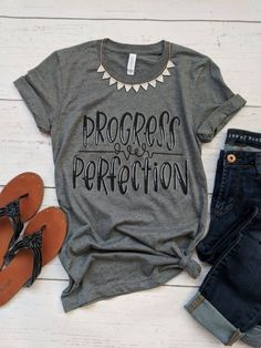 Progress over Perfection tee T-Shirt DAP - Teacher Shirts - Ideas of Teacher Shirts - Vinyl Shirts, Mom Shirts, Cut Up Shirts, Band Shirts, Boxe Fight, Teaching Shirts, Shirts For Teachers, Teacher T Shirts, Preschool Teacher Shirts