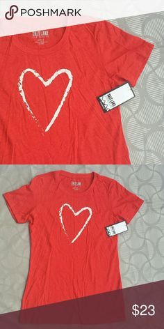 """Red heart tee Most comfortable red heart tee.  NWT as in pictures.  Laying flat across shoulders 14"""", across armpits 18"""", 27"""" long from shoulders to hem. Salt Lake Clothing Tops Tees - Short Sleeve"""