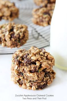 Zucchini applesauce oatmeal cookies  from  Two Peas and Their Pod