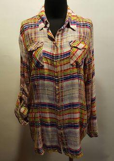 CAbi Multi Color Plaid 100% Rayon Long Tab Sleeved Oversize Blouse Shirt Top M  #CAbi #ButtonDownShirt #Casual #eBay #daystarfashions $16