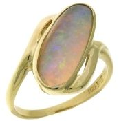 Freeform Opal Ring in 14kt  -  20th Century estate 14kt yellow gold bypass style ring bezel set with a freeform opal cabochon.  The ring is finished with a bright polish.   Opal=2.26ct semi-translucent gray body with orange, green and blue bright floral pattern pinfire.  $850.00.  Aother ◇beautiful◇ opal!