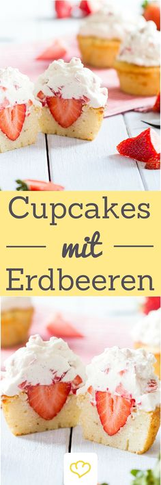 """Achtung, Achtung: Erdbeeralarm! """"Sommer-Cupcakes"""" ist hier wahrscheinlich der treffendste Ausdruck. Die roten Früchtchen kommen nämlich nicht nur im Frosting groß raus – unter der sahnigen Cremehaube, gemütlich eingebettet im Cupcake-Teig, hat sich auch eine fruchtige Erdbeerüberraschung versteckt. Ausprobieren!"""