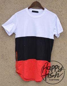 Hip Hop Mens Fashion Street Arc Cut Short Sleeve O-neck Men Color Patchwork casual Tyga Tee Shirt