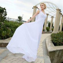 Nova Chegada Vestido Elegante Applique 2016 Vestidos de Casamento Chiffon Praia de noiva vestidos de novia Vestidos de Noiva Branco/Marfim/Vermelho cor alishoppbrasil