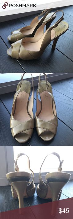 Champagne color sandal patent leather. High heel comfortable Cole Haan sandal for any occasion. Cole Haan Shoes Heels