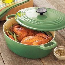 Grønn Le Creuset stekepanne eller kasserolle