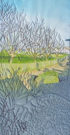 """April 2015 journal quilt by Stephanie Crawford: """"A slice of the view from my bedroom window - Early morning in March/April with the shadows from the house."""""""