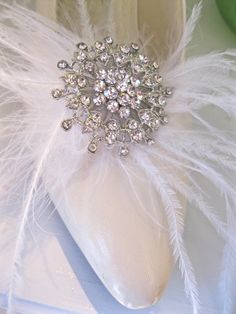 Feather Shoe Clips Bridal Bridesmaids Shoes Rhinestone by ctroum