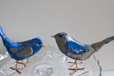 Blue & gold fabric birds cake topper for weddings - love birds - figurines: blue birds. $35.00, via Etsy.