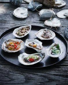 Oysters Six-Ways: Russian, Japanese, Thai, American, French, and Nordic style.